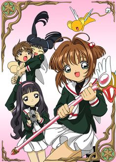 Sakura, Tomoyo, Kero, Shaoran y Meilin