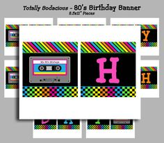INSTANT DOWNLOAD  80's Happy Birthday Banner by ThatPartyChick, $9.50