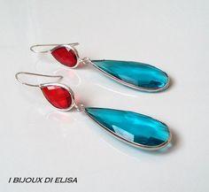 Earrings with turkish crystal: simply smart! #red #lightblue #azzurro #rosso #earrings #orecchini #handmade #handmadejewels #handmadeearrings #bijoux #bigiotteria #drop #goccia #artigianato #ibijouxdielisa