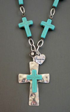 Cowgirl Gypsy Western Turquoise CROSS Charms Hammered Silver Necklace set our prices are WAY BELOW RETAIL! ALL JEWELRY SHIPS FREE! baha ranch western wear ebay seller id soloedition www.baharanchwesternwear.com