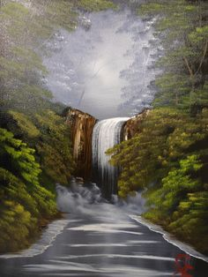 Oils instructional video lesson: Woodland Waterfall by Gill Adlington at ArtTutor.com