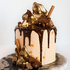 How to make a drippy chocolate cake, with perfect drizzles of ganache, purposefully placed candy pieces and shards of chocolate. Tips to create your own messy masterpiece without making a drippy mess.