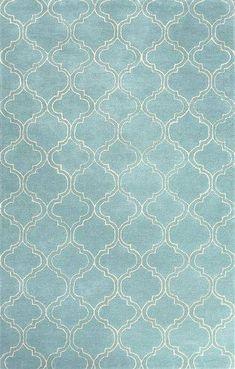Modern geometric blue/ivory wool blend area rug, 'Turquoise Trellis' - Modern Geometric Blue/Ivory Wool Blend Area Rug