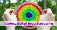 An easy tutorial for making plastic bead suncatchers with a rainbow of translucent plastic pony beads. These make great handmade gifts! Painting For Kids, Art For Kids, Melted Bead Suncatcher, Portraits For Kids, Music Activities For Kids, Painting Activities, Movement Activities, Sun Catchers, Clay Projects For Kids