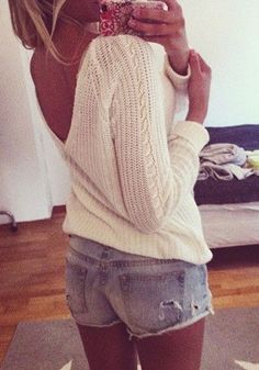 deep v back white knit sweater