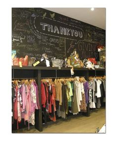 Mary Portas charity pop up shop - like the blackboard wall