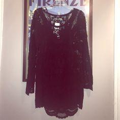BLACK lace dress All over black short dress. Last Pic same dress different color. Scalloped hemline above knee super cute. XOXO Dresses Mini