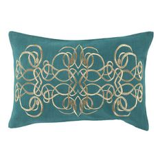 Bring a touch of style to your sofa, arm chair, or bedding with this lovely pillow, showcasing a scrolling design in teal.  Product:...
