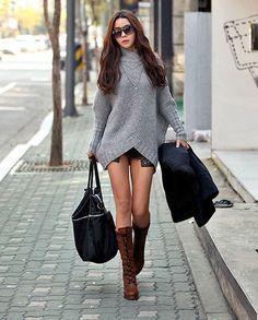 Korean Fashion Stand Collar Women Warm Long Sweater - BuyTrends.com