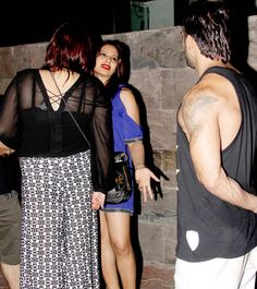 Bipasha Basu and Karan Singh Grover with a friend at a dinner outing in Mumbai.