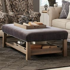 Accent Ottomans Storage Bench Ottoman with Tray Storage by