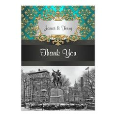 Union Square NYC Gold Teal Damask 223 Thank You Announcement