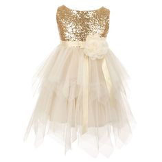 This dress by Kiki Kids takes glamour to an extreme as it comes with stylish embellishments.  The gold sleeveless dress has a sequin embellished bodice and a double layered poly mesh skirt. A ribbon sash and a gorgeous flower adorns the waist. Zips up at