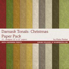 Damask Tonals: Christmas Paper Pack- Katie Pertiet Papers- PP820848- DesignerDigitals