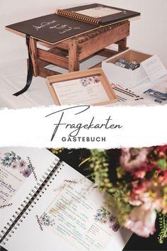 Fragekarten sind eine tolle Abwechslung im Gästebuch, statt einfachen   Einträgen klebt man schöne Karten in das Buch und hat die etwas anderen   Erinnerungen an die Hochzeit!  Zwei Beispiele für wunderschöne Varianten gibt es jetzt im Blog von hochzeitdiy.com