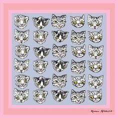 Terrorcats silk chiffon scarf design.