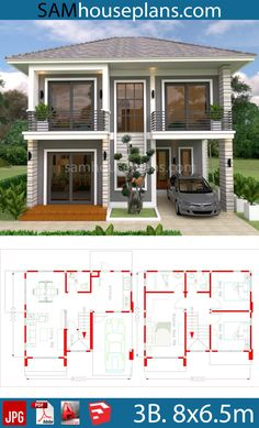 design plans 2019 House Plans With 3 Bedrooms House Plans With 3 Bedrooms - Sam House Plans Two Story House Design, 2 Storey House Design, Duplex House Design, Duplex House Plans, Small House Design, Cool House Designs, House Floor Plans, House Layout Plans, Family House Plans