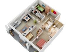 3 Bedroom Apartment House Plans - Small 3 Bedroom House Plans With Garage Garage House Plans, Small House Plans, House Floor Plans, Three Bedroom House Plan, 3 Bedroom Floor Plan, Layouts Casa, House Layouts, Apartment Layout, 3 Bedroom Apartment