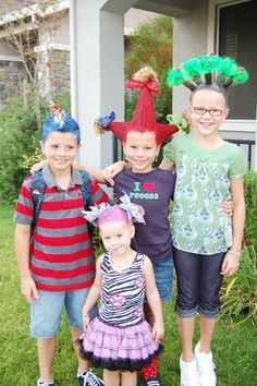 "Another pinner wrote, ""Crazy Hair Day ideas for kids, a lot of schools have this day during Spirit Week each year.""-- WOW! not sure i'd be brave enough to send my kids to school looking like this! lol"