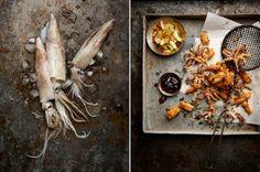 Crispy Squid with Nam Prik Pao and Cucumber Relish