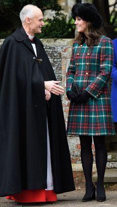 25 December 2017 - British Royals attend Christmas Day service at St Mary Magdalene Church - coat by Miu Miu