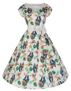 Lindy Bop 'Kelly' Vintage 50's Style Paradise Inspired Print Swing Dress (3XL, Beige)