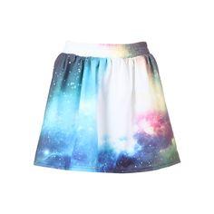 """Sky & Galaxy"" Pleated Skirt ($31) ❤ liked on Polyvore"