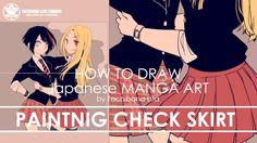 ✔ Digital Painting - St.3 Check Skirt | How to draw Manga Art 2017.11.18