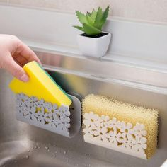 kitchen organizer Sink Suction Sponges Holder Scrubbers Soap Storage Rack cartoon Sponge Holder Bathroom Drying Rack Toilet – Top Daily Trends