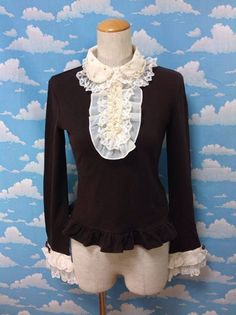 Dress Up Pearly Jabot Cutsew in Brown x Ivory from Angelic Pretty - Lolita Desu