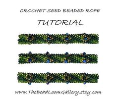 Beaded Rope Pattern - PDF File Tutorial - Crochet Seed Beaded Rope with Swarovski Crystals - Peacock Feather Bead Crochet Rope, Beaded Crochet, Tutorial Crochet, Beads Tutorial, Jewelry Patterns, Jewelry Ideas, Diy Jewelry, Beading Tutorials, Loom Beading