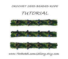 beaded peacock pattern | Beaded Rope Pattern - PDF File Tutorial - Crochet Seed Beaded Rope ...