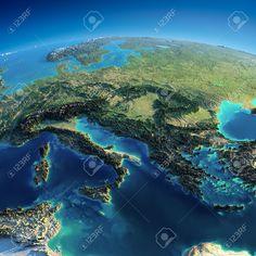 Zeer gedetailleerde planeet Aarde in de ochtend Overdreven precieze verlichting verlicht ochtendzon deel van Europa - Italië, Griekenland en de Middellandse Zee