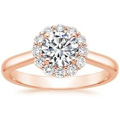 14K Rose Gold Lotus Flower Diamond Ring #RoseGold