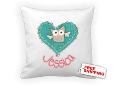 Dotty owl pillow cushion cover  children personalized by kasefazem, $16.99