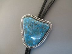 Sterling Silver Bolo Tie with large natural Nevada Blue Turquoise stone $4,500