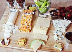 Another great and simple appetizer idea. Put together some cheese, crackers, and fruit and voila, a scrumptious snack for your guests!