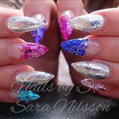 Stiletto-style acrylic nails
