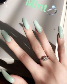 nails one color acrylic \ nails one color . nails one color simple . nails one color acrylic . nails one color summer . nails one color winter . nails one color short . nails one color gel . nails one color matte Summer Acrylic Nails, Best Acrylic Nails, Acrylic Nail Designs, Acrylic Nails Green, Pastel Nails, Acrylic Nail Art, Acrylic Nails With Design, Mint Nail Designs, Ballerina Acrylic Nails