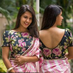 Latest saree blouse designs front and back: Top 30 Trendy designs - - Latest trends in Beauty, Fashion, Indian outfit ideas, Wedding style on your mind? We bring to you hand picked collections for inspiration. Indian Blouse Designs, Saree Blouse Neck Designs, Fancy Blouse Designs, Saree Blouse Long Sleeve, Blouse Designs Wedding, Saree Jacket Designs Latest, Pattern Blouses For Sarees, Latest Kurti Designs, Designer Saree Blouses
