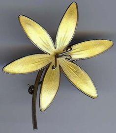 Flower Pin Vintage Sterling Silver and Enamel Bernard Meldahl Norway