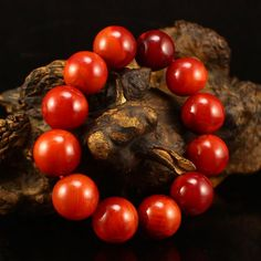 18 mm Superb Chinese Nanhong Agate Beads Bracelet 中國 南紅瑪瑙 手鏈