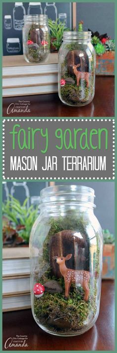 Here's a fairy garden that can be made using a mason jar! Try this for your next fundraiser. // World Help   fundraising ideas, fundraising for kids, mason jar crafts, fairy garden terrarium