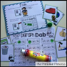 Digraph dab. Students will identify the digraph in a word and dab their answer.
