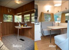 "Vintage Camper turned Glamper-DIY Renovation #home #design Pinner says: I think ""Glamping"" is dumb but I like the redo on this trailer"