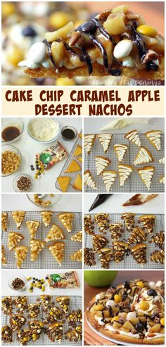 Dessert Nachos - Caramel Apple Cake Chip Nachos Topped with M&M's® Pecan Pie Healthy Apple Desserts, Apple Dessert Recipes, Healthy Vegan Snacks, Fun Desserts, Dessert Nachos, Pecan Pie Cake, Apples And Cheese, Toasted Pecans, Cake Toppings