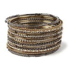 Susan Bangle Set | Bangles | Amrita Singh Jewelry | 17 Piece Mixed Metals | Arm Candy