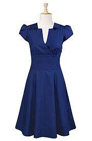 Surplice front cotton poplin dress in navy.
