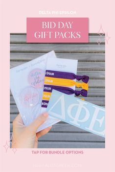 Spoil your new members this recruitment with the Newbie Love bundle! Gift bag includes a sorority decal, hair tie set, and button set. Delta Phi Epsilon Gifts   Delta Phi Epsilon Bid Day   DPhiE New Member Gifts   Delta Phi Epsilon Rush Gift Bags   Delta Phi Epsilon Recruitment   Sorority Bid Day   Sorority Recruitment   Bid Day Bags   Sorority New Member Gift Ideas #BidDayGifts #SororityRecruitment Alpha Epsilon Phi, Alpha Sigma Alpha, Sorority Bid Day, Sorority Recruitment, Bid Day Gifts, Letter Decals, Delta Chi, Bid Day Themes, Tie Set