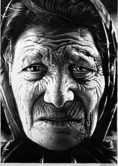 Paul Brady - An old woman - stippled pen and ink portrait